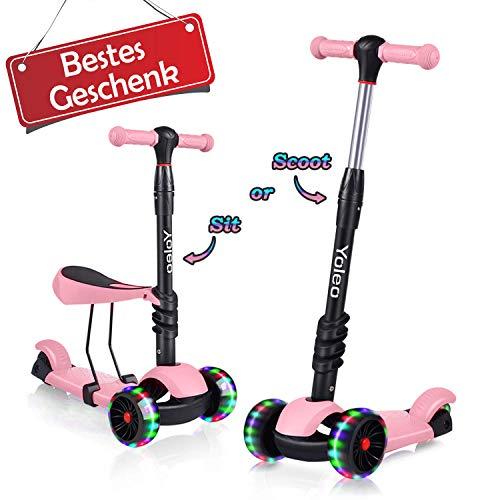 Yoleo 3-in-1 Kinder Roller Scooter mit Abnehmbarem Sitz, LED große Räder, Höheverstellbare Lenker für...