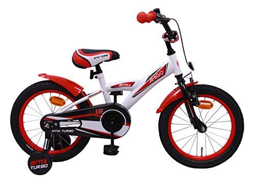 AMIGO BMX Turbo - Kinderfahrrad für Jungen - 16 Zoll - mit Handbremse, Rücktritt, Lenkerpolster und...