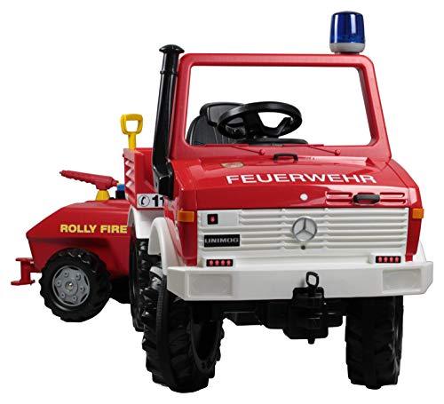 Rolly Toys 036268 Fire Unimog Feuerwehr (Tretauto 3-8 Jahre mit Anhänger, Spritze, Blinklicht,...