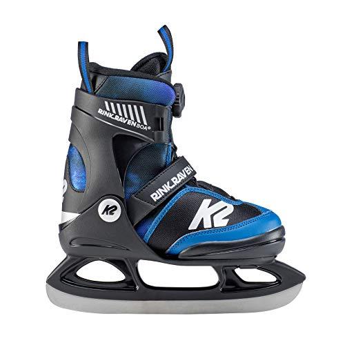 K2 Skates Jungen Rink Raven Ice BOA Skates, Schwarz-Blau, 35-40 EU