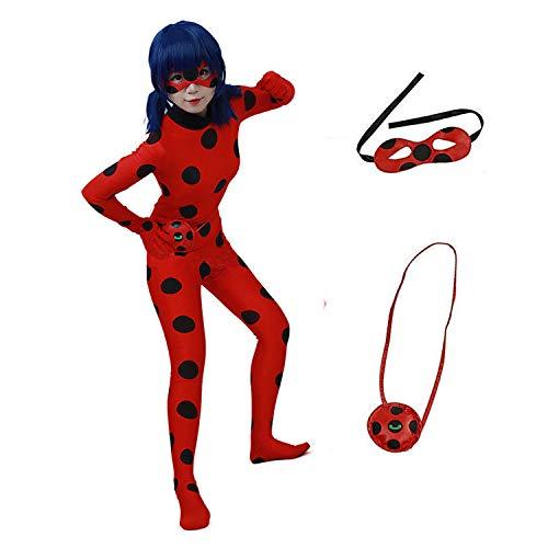 albright Kids Festlich Jumpsuit Ladybug Marienkäfer Cosplay Kostüm für Mädchen(Gr.134/140), Party...