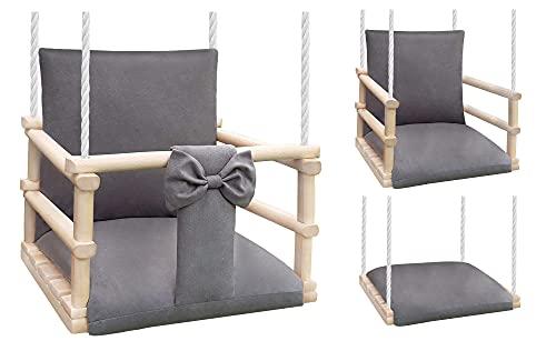 NATILU® Babyschaukel Kinderschaukel Holz, Schaukel für Kinder Garten Indoor Outdoor - EN 71 und CE -...