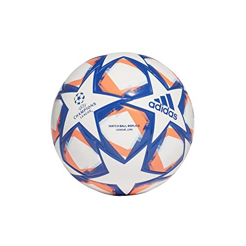 adidas Kinder UCL Finale 20 Junior League 290 Ball, White/Royal Blue/Signal Coral/Sky Tint, 4