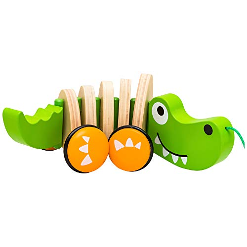 Natureich Kroko – Nachziehspielzeug aus Holz / Holztier Nachziehtier Krokodil für Kinder ab 36 Monate...