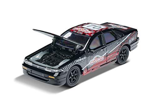Majorette Racing Nissan Cefiro, Spielzeugauto, Freilauf, zu öffnende Teile, Sammelkarte, 7,5 cm,...