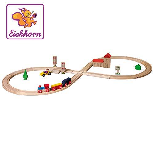 Eichhorn 100001262 - Schienenbahn 'Achterbahn', 35-tlg., enthält Kurven, Schilder, Kreuzung, Bäume, Zug...