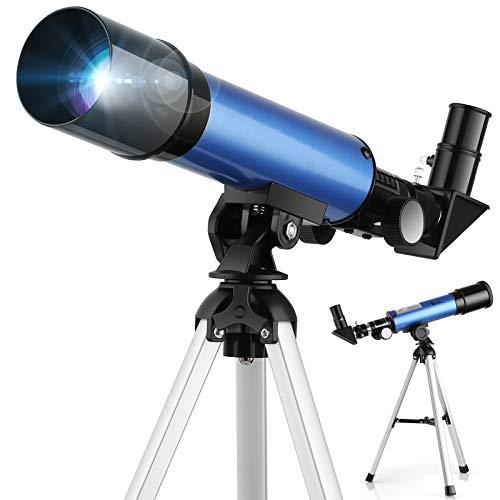 TELMU Kinder Teleskop Licht Teleskope & 2 Optionen Okular Pädagogischer Vergrößerung Tragbarer...