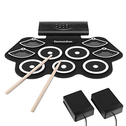 MVPower Elektronisches Schlagzeug Drum Set, Tragbares Roll-Up-Schlagzeug, mit Stereo-lautsprecher...