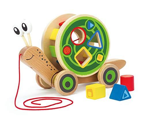 Hape Schnecke Ziehspielzeug |Preisgekrönt Kleinkind Schiebe- und Ziehspielzeug aus Holz mit abnehmbarem...