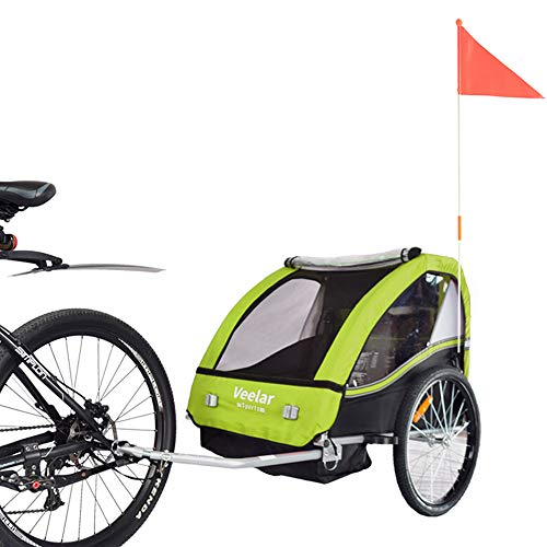 FISCHER Fahrrad Kinder Fahrradanhänger Komfort grüngrau