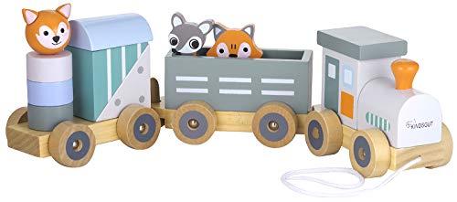Kindsgut Holz-Eisenbahn, mit Holzbausteinen und Zoo-Tieren, dezente Farben und hochwertige Qualität,...