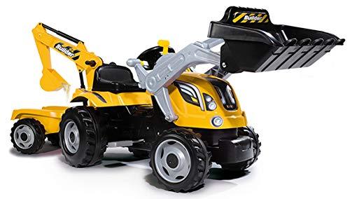 Smoby 7600710301 - Traktor Builder Max - Trettraktor mit Anhänger, Trailer verfügt über Tragkraft von...