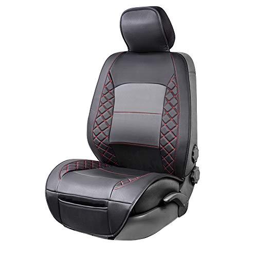 Amazon Basics – Luxuriöser Sitzbezug, seitenlos, universale Passform, aus Kunstleder, schwarz mit...