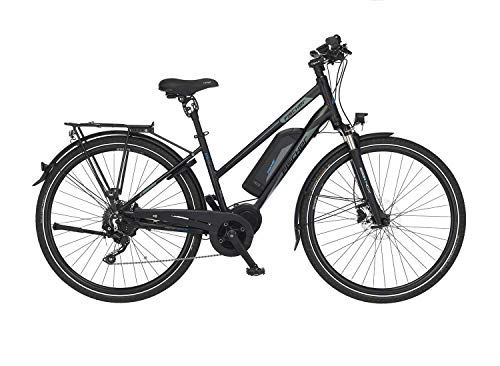 FISCHER Damen - Trekking E-Bike ETD 1861.1, Elektrofahrrad, schwarz matt, 28 Zoll, RH 49, Mittelmotor 80...