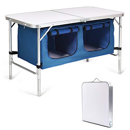 COSTWAY Campingküche mit großem Stauraum, Reiseküche Klapptisch Alu Höhenverstellbar von 53-70cm,...