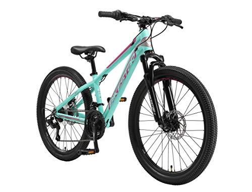 BIKESTAR Kinder Fahrrad Aluminium Mountainbike 21 Gang Shimano, Scheibenbremse ab 9 Jahre | 24 Zoll...