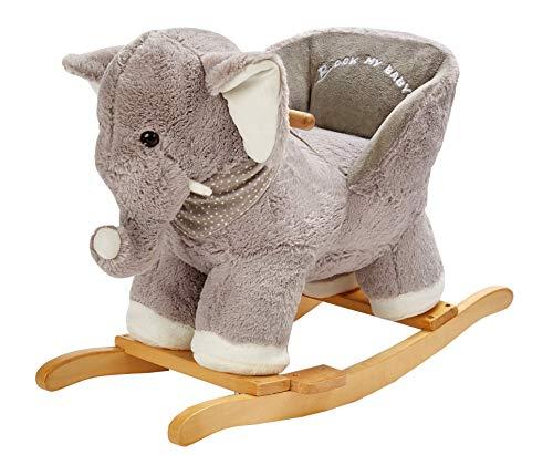 ROCK MY BABY Plüsch Schaukeltier Elefant, Schaukelpferd Holz, Kinder Schaukelstuhl, Schaukeltier Baby,...