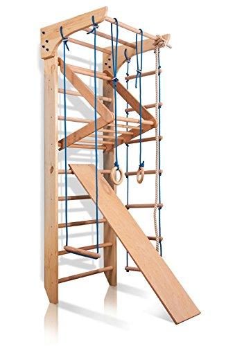Turnwand Kinder Gym Klettergerüst Kinder-3-220 Holz Sportgerät Kletterwand Sprossenwand mit Stange...