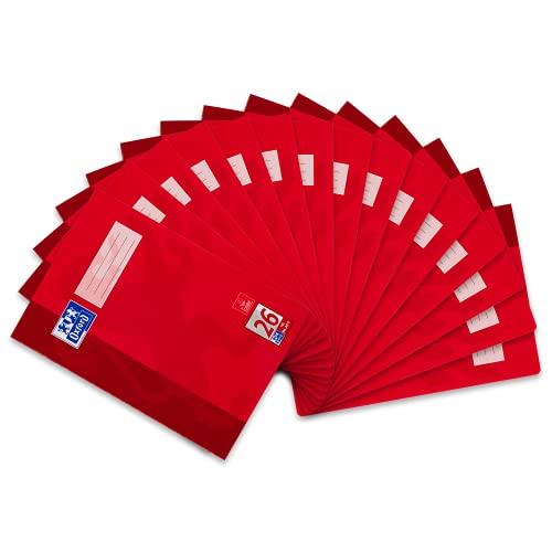 Oxford Schulheft A4 kariert, Lineatur 26, 16 Blatt, rot, 15 Stück