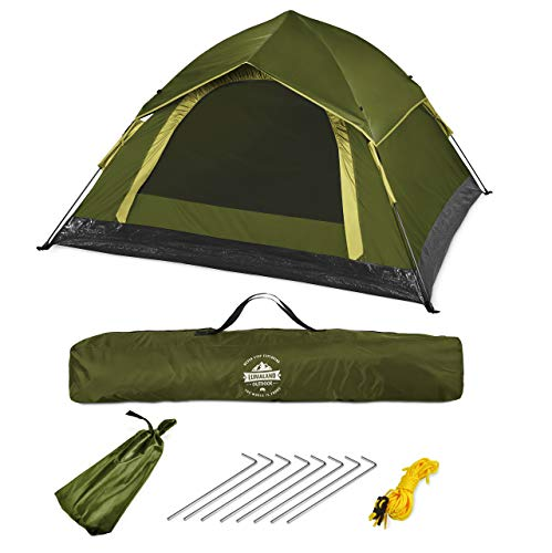 Lumaland Outdoor leichtes Pop Up Wurfzelt 3 Personen Zelt Camping Festival etc. 210 x 190 x 110 cm robust...