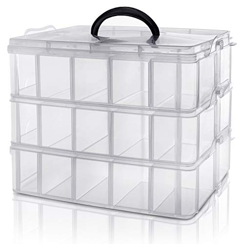 Kurtzy 3-stöckige Aufbewahrungsbox Plastik Transparent Stapelbar - Sortierkasten bis 30 Verstellbare...