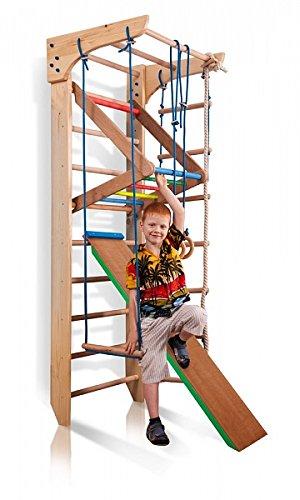 Sportgerät Turnwand Kinder Gym Kinder-3-240-Farbe Klettergerüst Fitness Kletterwand Holz Sprossenwand...