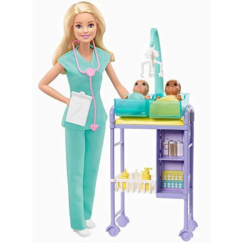 Barbie GKH23 - Kinderärztin Puppe (blond) und Spielset mit Zubehörteilen, Spielzeug ab 3 Jahren