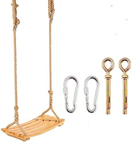 Holz Schaukelsitz für Erwachsene Kinder, Garten-Schaukel mit verstellbarem Hanfseil für Innen und...