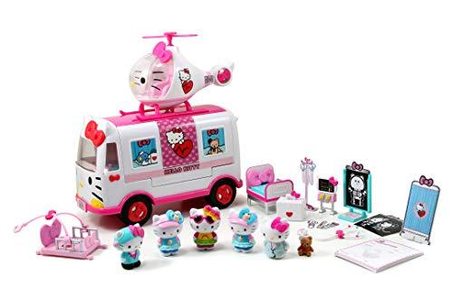 Dickie Toys Hello Kitty Rettungsset mit Helikopter und mobiler Notaufnahme, inkl. 6 Hello Kitty Figuren,...