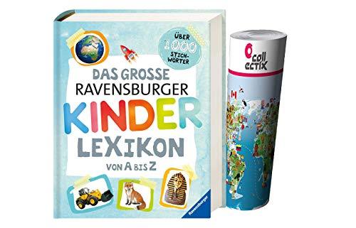 Buchspielbox Das große Ravensburger Kinderlexikon von A bis Z + 1x Kinder-Weltkarte, Wissensbuch für...
