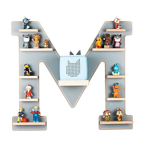BOARTI Kinder Regal Buchstabe M in Grau - geeignet für die Toniebox und ca. 48 Tonies - zum Spielen und...