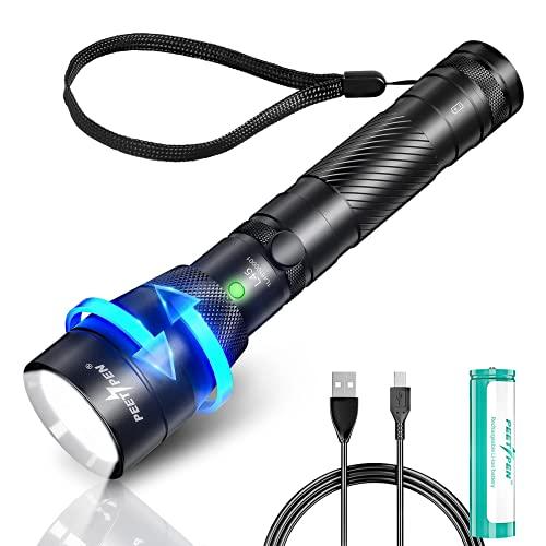 PEETPEN L45 LED Taschenlampe USB Aufladbar Zoombar Extrem Hell 1500 Lumen Taktische Wasserdicht...
