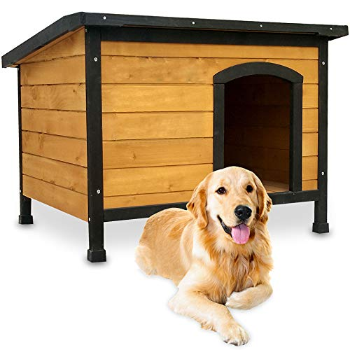 zooprinz wetterfeste Hundehütte Rex - aus massivem Holz und Dach zum Öffnen - perfekt für draußen -...