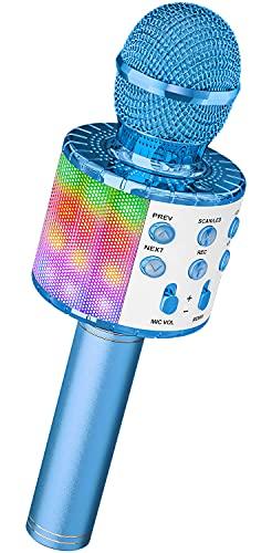 Mikrofon für Karaoke, Ankuka Bluetooth Mikrophon mit Lautsprecher und Dynamisches Licht, Drahtloses...