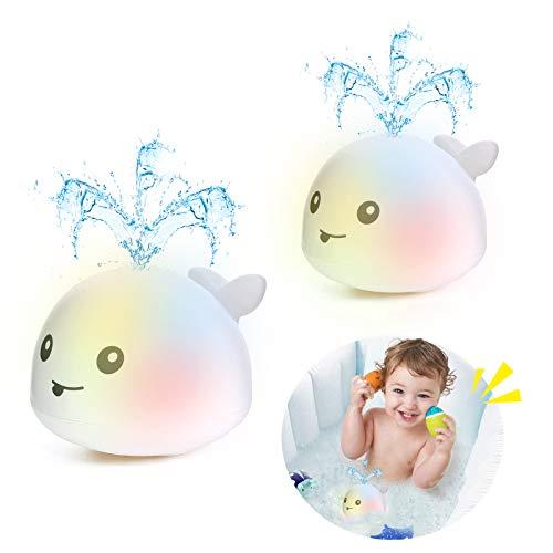 Addmos Badewannenspielzeug, Baby Spielzeug für 1 2 3 4 5 Jahre alte Jungen Mädchen, 2 x Wasser Baby Wal...