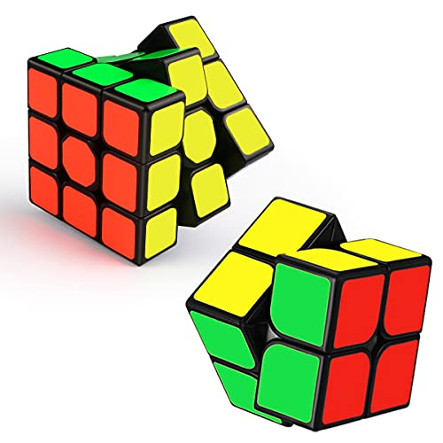 ROXENDA Zauberwürfel Set, Speed Cube Set mit 2x2 3x3 Zauberwürfel, Aufkleber Cube