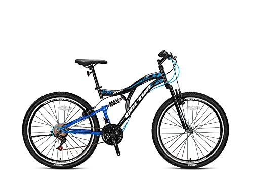 Geroni FCX 100 Mountainbike Fully 21-Gang // 20', 24', 26' Zoll Fahrrad Jungen/Herren (Schwarz-Blau, 26'...