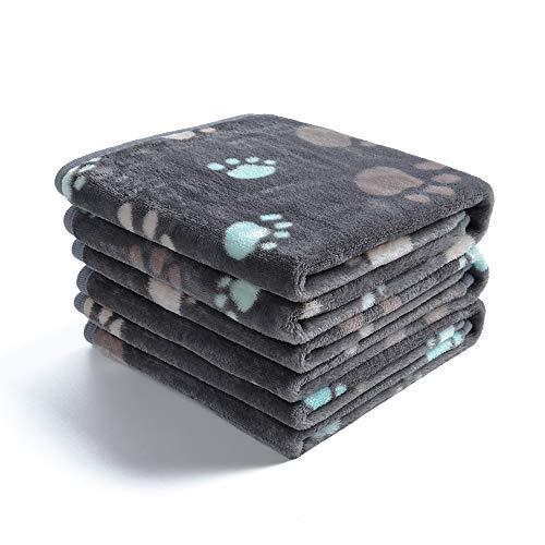 1 Pack 3 Decken Super Weich Fluffy Premium Fleece Haustier Decke Flanell Wurf für Hund Welpen Katze Grau...