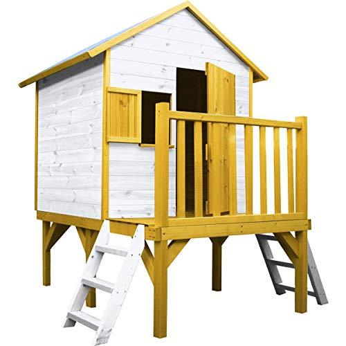 SOULET Spielhaus Igor mit Podest (Gartenhütte, Holzhaus, Kinderspielhaus für 3 Kinder, Hochwertiges und...