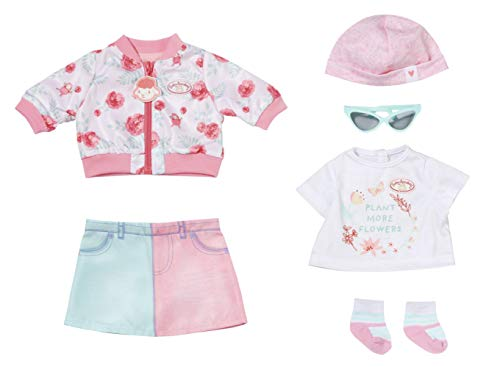 Zapf Creation 705957 Baby Annabell Deluxe Frühling 43 cm - Puppenkleidung Set bestehend aus rosa...