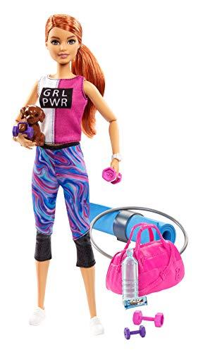 Barbie GJG57 - Wellness Fitness Puppe (rothaarig), mit Hündchen und 9 Zubehörteilen, Spielzeug ab 3...