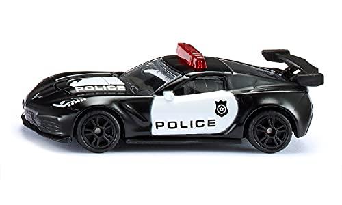 siku 1545, Chevrolet Corvette ZR1 Police, Metall/Kunststoff, Schwarz/Weiß, Motorhaube zum Öffnen,...