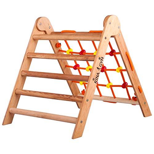 RINAGYM-Kletterdreieck - Indoor-Leiter mit Kletternetz - Zusammenklappbarer Holzrahmen für Kinder,...