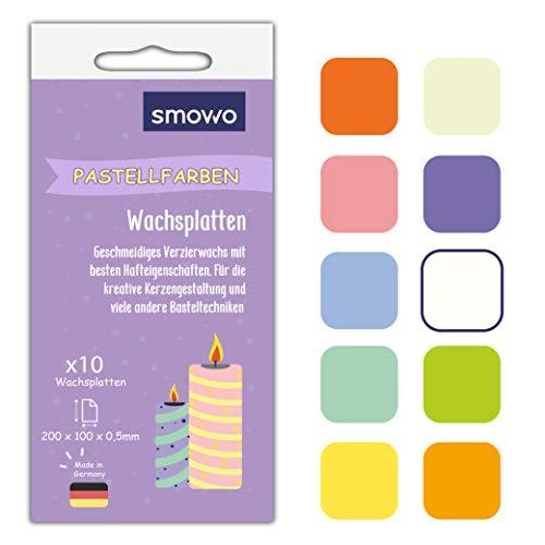 Smowo® 10 Pastell Wachsplatten 20 x 10cm zum gestalten, dekorieren und verzieren von Kerzen -...