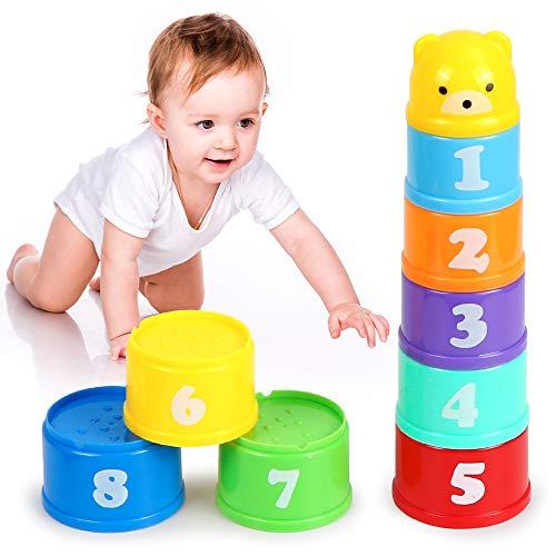 Stapelbecher, Stapelbare Bunte Becher, 9 Stück Kinder Stapelturm, Klassisches Stapelspielzeug,...