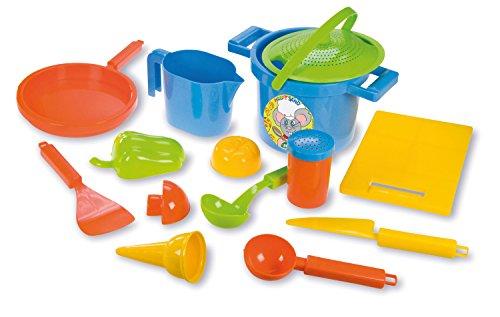 Lena 05410 - Happy Sand Spielset Kochen, 14 teilig, Sand und Wasser Spielzeug Set für Kinder ab 2 Jahre,...