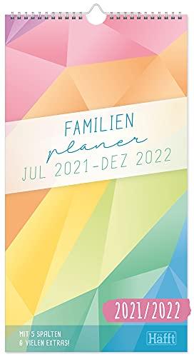 FamilienPlaner 2021/2022 mit 5 Spalten, 22,5 x 42 cm [Rainbow] Wandkalender 18 Monate: Jul 21 - Dez 22 |...