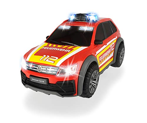 Dickie Toys 203714016 VW Tiguan R-Line Fire Car, Auto, Feuerwehr Einsatzfahrzeug, SUV, Blaulicht & Sound,...
