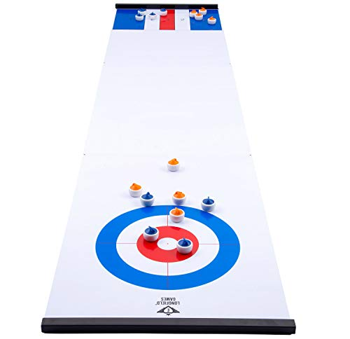 Engelhart - 2 in 1 Curling and Shuffleboard Table-Top Game - 180cm, Compact Curling Spiel und Reversible...