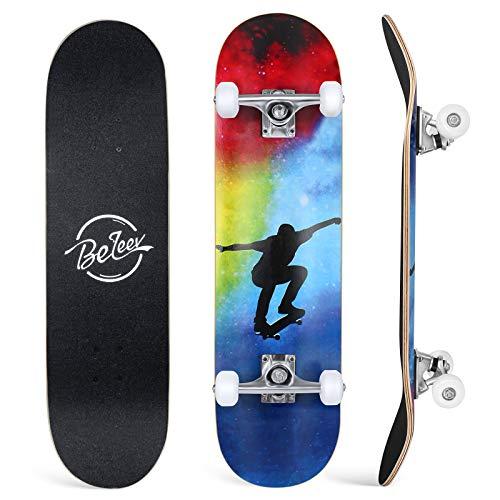 BELEEV Skateboard 31x8 Zoll Komplette Cruiser Skateboard für Kinder Jugendliche Erwachsene, 7-Lagiger...